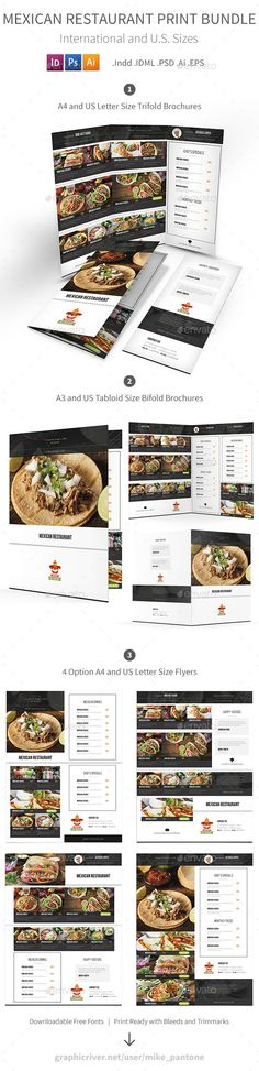 Mexican Restaurant Menu Print Template Bundle - PSD, Vector EPS, InDesign INDD, AI Illustrator