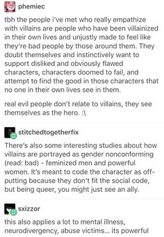 This could explain why so many people love Loki. He's a victim-villain who CERTAINLY doesn't fit the ideal masculine stereotype; he's a shapeshifter who has literally oven birth to women and uses tricks and knowledge over brute strength. And he's queer as fuck.