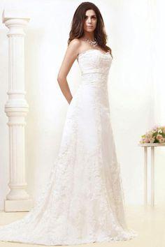 Gorgeous Empire Sweetheart Lace Sweep Train Wedding Dress WEM05356-TB