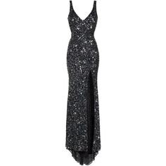 Women's Mac Duggal Sequin Slit Gown ($338) ❤ liked on Polyvore featuring dresses, gowns, black, glitter gown, mac duggal gowns, sequin gown, sequin evening gowns and red carpet dresses