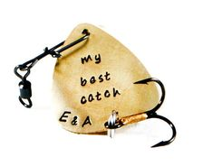 My Best Catch Custom Engraved Metal Fishing Lure. Personalized Fishing Lure. Antiqued Brass Guitar Pick Metal Fishing Lure.Christmas Gift