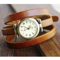 // Leather Wrap Watch