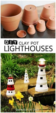 DIY-Clay-Pot-Lighthouse- Add a magical touch to your garden with this sweet garden art lighthouse made from clay pots. It's a great project to do with kids. Add a solar lamp to the top to shine brightly in the evening garden. Flower Pot Crafts, Clay Pot Crafts, Diy Clay, Flower Pots, Diy And Crafts, Decor Crafts, Flower Diy, Crafts To Make And Sell, Sell Diy