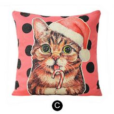 Funny tongue cat cartoon pillow pink Couch cushions for home