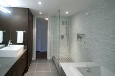 "Shower Tile Layout Design Ideas Look at Floor tile in a small bath - instead of a running bond ""brick"" pattern."
