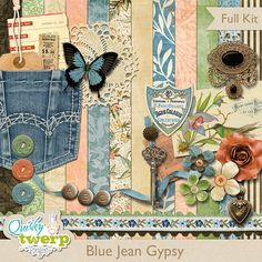 Blue Jean Gypsy Scrapbook Kit by quirkytwerp on Etsy, $7.00