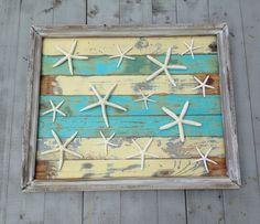 Framed Reclaimed Wood Starfish Art/Beach Art by  My Honeypickles