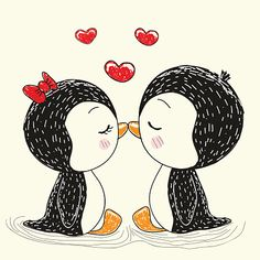 Penguin Images, Penguin Pictures, Penguin Art, Penguin Love, Cute Penguins, Love Drawings, Easy Drawings, Pencil Drawings, Pinguin Drawing
