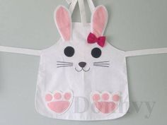 Easter Bunny Apron for Kids. Animal Kid's by Donhvy Sewing Tutorials, Sewing Crafts, Sewing Projects, Sewing Patterns, Apron Patterns, Dress Patterns, Sewing For Kids, Baby Sewing, Diy For Kids