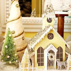 Beautiful Vintage Pastel Yellow Putz Style House * Glitter, Holiday House * Christmas or Easter House with Beautiful Bottle Brush Trees * Design & Decor DIY Inspiration * For the love of tiny & shiny! Christmas Mantels, Christmas Paper, Christmas Colors, Christmas Home, Christmas Holidays, Christmas Crafts, Christmas Decorations, Christmas Glitter, Christmas Ideas