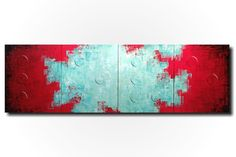 Original Large Abstract Braille painting - 20 X 64 Inches-by Artist JMJartstudio- LOVE -Wall art-wall decor - Red and Turquoise painting-Oil