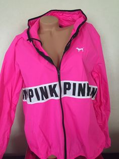 Victorias Secret Pink Windbreaker Hoodie Full Zip M/L NWT in Clothing, Shoes & Accessories | eBay