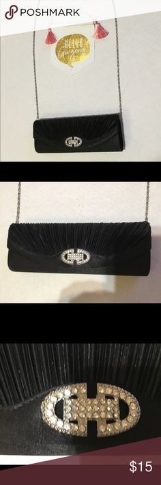 """Beautiful satin and rhinestone evening bag Beautiful satin and rhinestone evening bag.  Used once great clean condition!  Magnetic snap closure.  Chain is removable for use as a clutch. 10"""" x 3.5"""".  Strap drop is 21"""". Bags"""