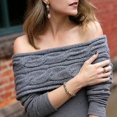 Cabled off-the-shoulder sweater