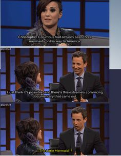Demi Lovato and Seth Meyers this part of the interview was the greatest