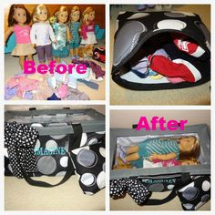 Safe storage/Safe Travels for American Girl Dolls.  Large Utility Tote, Large Zipper Pouch, Varsity Scarf and Top A Tote.