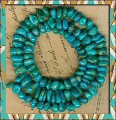 "Southwest Kingman Mine Turquoise Nugget Beads Blue Green Natural 16"" Strand 