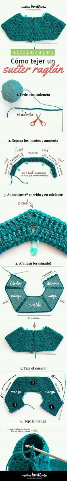 Sweater raglan empezado  por escote