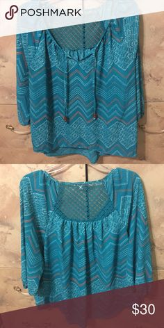 Patterned blouse Cute blouse worn once with cute detailing on front and back. Reasonable offers considered  Tops Blouses