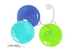 Christmas balls original painting by lauratrevey Watercolor Projects, Watercolor Cards, Watercolor Ideas, Watercolor Illustration, Watercolor Painting, Watercolors, Christmas Signs, Christmas Balls, Christmas Art