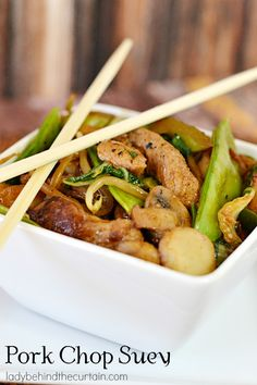 Make this much tastier version of Pork Chop Suey than your favorite take out.  With all kinds of vegetables, not just a tasty marinade but also a delicious sauce.  Pork Chop Suey - Lady Behind The Curtain