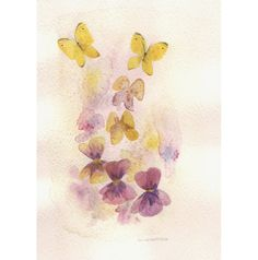 Pansies and Butterflies - original watercolor painting - violet purple and yellow