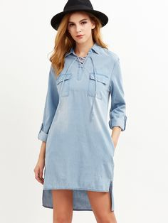 Shop Blue Lace Up Front Flap Pocket Front High Low Denim Dress online. SheIn offers Blue Lace Up Front Flap Pocket Front High Low Denim Dress & more to fit your fashionable needs.