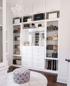 master closet with crystal chandelier Happy Friday, everyone! I'm so excited to FINALLY share my completed master closet renovation with California Closets today! Closet Designs, Master Bedroom Closet, Closet Vanity, Interior Design, Closet Decor, Home, Interior, Dream Rooms, Closet Design