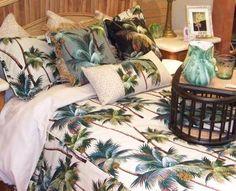 palm tree bedding found at Hanalei Home http://hanaleihome.com/ #hawaiia #hawaiian