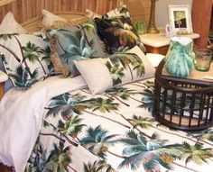 palm tree bedding found at Hanalei Home http://hanaleihome.com/ #hawaiia #hawaiian