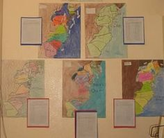 This is a creative way to show the various colonies and where they are located.  From these maps, it is easy to see the progression of the population shift inland as more and more colonies developed.  Students could also work on their writing skills with a writeup to go with the picture.