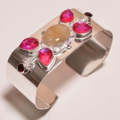 FACETED GOLDEN NEEDLE RUTILE .925 SILVER HANDMADE BANGLE CUFF JEWELRY JB15 #Handmade
