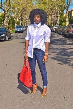 White Boyfriend Shirt + Dark Skinny Jeans