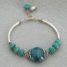 Sterling Silver noodle bracelet set with lampwork by ladylovesblue, $26.00