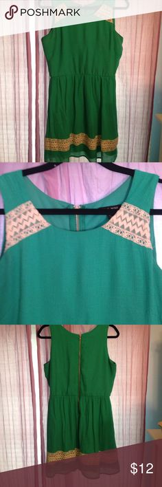 As U Wish Green summer Dress As U wish green dress with Lacey details on the bottom and by the shoulders          Size Medium.          The zipper is very long and easy to get on! As U Wish Dresses Midi