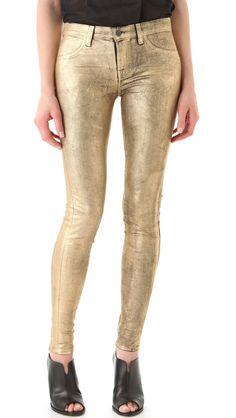 NWT J Brand 801 Super Skinny in Crinkle Coated Metallic Gold Stretch Jeans 23 #JBrand #SlimSkinny
