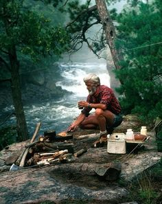 Camping. I know he is old, but he looks happy, and happiness is all one can ask for in life. bearded-men personal-development