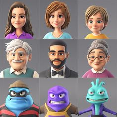 characters for future commercial animation 🙂 Unfortunately there wasn't time for real hairs and even nice textures but anyway it was funny to make them ☺️ All characters are based on client wishes and references 3d Character Animation, 3d Model Character, Female Character Design, Character Modeling, Character Design References, Character Design Inspiration, Game Character, Character Concept, Animation Storyboard