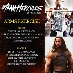 """When The Rock was filming #Hercules, he shared his workouts on Instagram. You can use these tips to help you achieve your #WakeUpCall. -- ARMS. Let me introduce you to the """"Hammer Bros"""" - Sledge & Jack... 4 sets of a tri-set series. Squeeze at the top for bi's and at the bottom for tri's. I prefer high volume for ARMS so the burn is intense. Enjoy the pain. #BringIt #FOCUS #TeamHercules"""