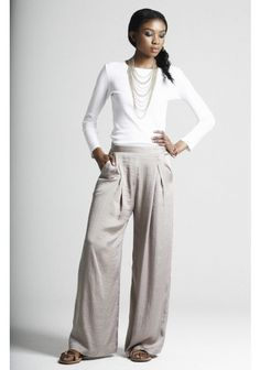 Love this simple look- I can't do these pants but on someone tall and thin- perfection!