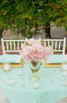Mint and gold wedding sweetheart table (mint instead of coral)