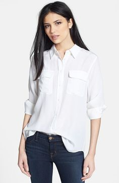 Equipment 'Slim Signature' Silk Shirt available at #Nordstrom - size XS in true black