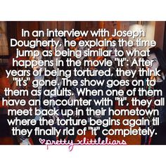 """In an interview with Joseph Dougherty he explains the time jump as being similar to what happens in the movie """"It"""". The movie is about a group of friends that are tormented by an evil clown. After years of torture by """"it"""" they think he's gone. The movie then goes on to them as adults with families lives and careers. One of the friends has an encounter with it and calls up the rest of the friends and they all go back to their hometown where the torture begins again until they eventually rid…"""