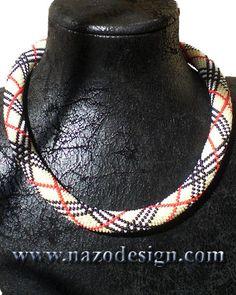 Beaded Necklace  Beaded Crochet Neckalce by NazoDesign on Etsy,