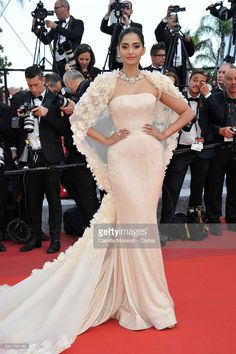 Sonam Kapoor attends the 'Loving' red carpet at the annual 69th Cannes Film Festival at Palais des Festivals on May 15, 2016 in Cannes, France.