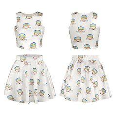 Cfanny Women's Emoji Digital Print Crop Tank Top Skater Skirt 2 Pieces Set Dress $19.99