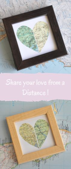 Creative Personalized Gift for Long Distance Love or Best Friend, Heart Shaped Map in Frame. Great gift for her or him, friends, family, couples. #giftideas #valentinesday #anniversary #specialoccasion #ad