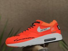 Great NikeLab Air Max 1 Just do it Black Total Orange 917691 002 Men's Running Shoes Trainers