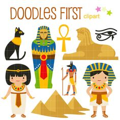 This clipart set includes the 9 x of the following items:  1 x Egyptian Cat 1 x Pharaoh Casket 1 x Ankh 1 x Sphinx 1 x Eye of Horus 1 x Anubis 1 x Pyramids 1 x Egyptian Queen 1 x Pharaoh  Each clipart illustration is included separately as a high resolution PNG file with a transparent background, a JPG with a white background and as an SVG file.  Each object is provided at a sizes of 5.5 Inches on its longest side. The PNG makes it versatile to scale for any project.  No watermarks will…