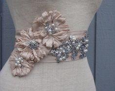 Bridal Sash, belt  with rhinestones  champagne color